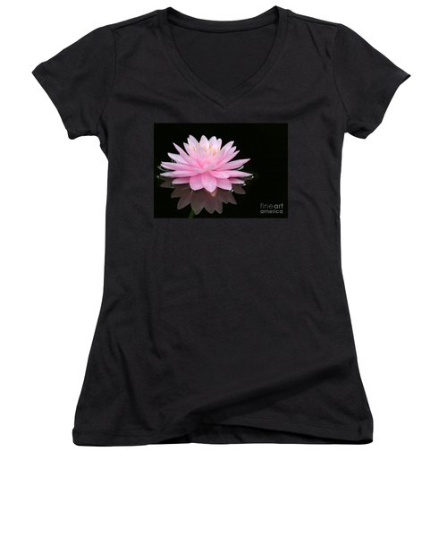 Pink Water Lily In A Dark Pond Women's V-Neck