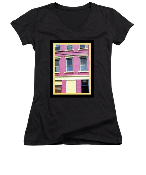Women's V-Neck T-Shirt (Junior Cut) featuring the photograph Pink Yellow Blue Building by Kathy Barney