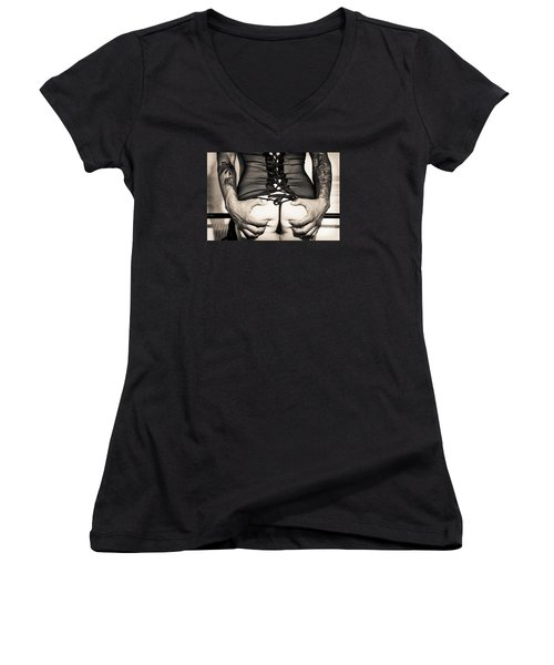 Piper Precious Squeeze No 73-5066 Women's V-Neck T-Shirt (Junior Cut) by Amyn Nasser