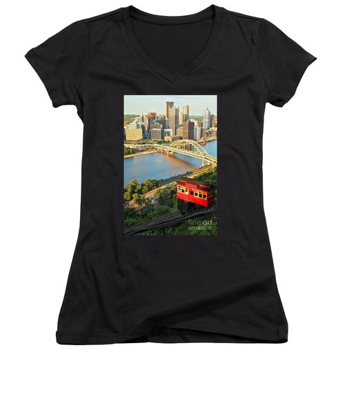 Pittsburgh Duquesne Incline Women's V-Neck (Athletic Fit)