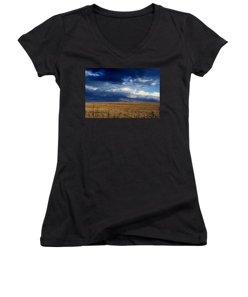 Women's V-Neck T-Shirt (Junior Cut) featuring the photograph Plain Sky by Rodney Lee Williams