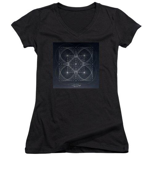Women's V-Neck T-Shirt (Junior Cut) featuring the drawing Plancks Blackhole by Jason Padgett
