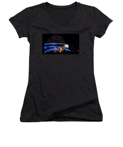 Women's V-Neck T-Shirt (Junior Cut) featuring the photograph Planetarium by Silvia Bruno