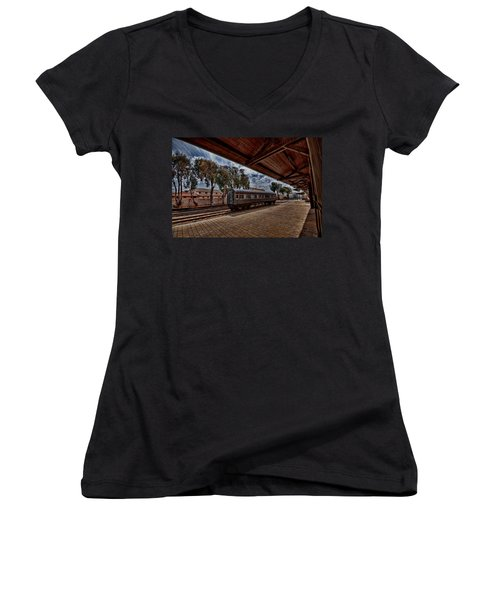 Women's V-Neck T-Shirt (Junior Cut) featuring the photograph platform view of the first railway station of Tel Aviv by Ron Shoshani