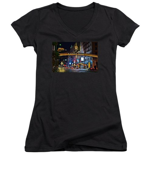 Playhouse Square Women's V-Neck T-Shirt (Junior Cut) by Frozen in Time Fine Art Photography