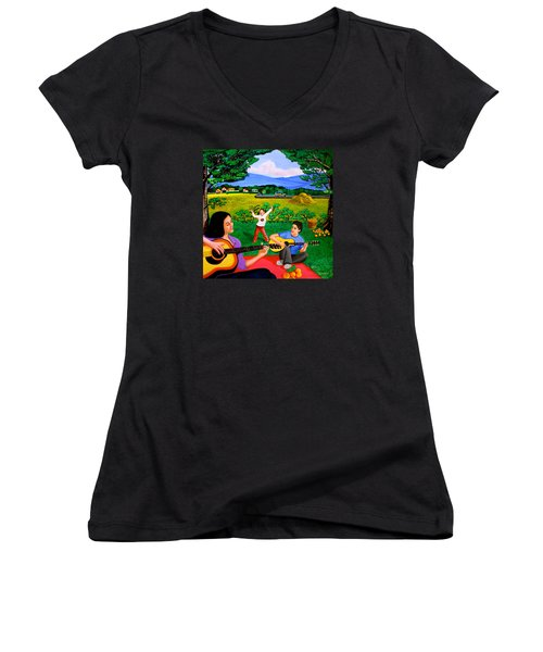 Women's V-Neck T-Shirt (Junior Cut) featuring the painting Playing Melodies Under The Shade Of Trees by Cyril Maza