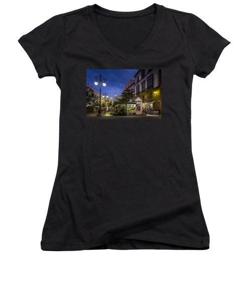 Plaza De Las Flores Cadiz Spain Women's V-Neck T-Shirt