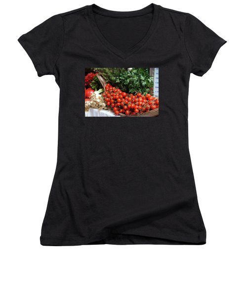 Plentiful Red Women's V-Neck T-Shirt (Junior Cut) by Debi Demetrion