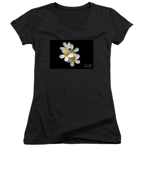 Women's V-Neck T-Shirt (Junior Cut) featuring the photograph Plumerias Isolated On Black Background by David Millenheft