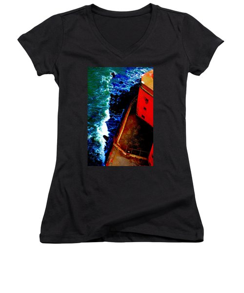 Plunging From Golden Gate Women's V-Neck T-Shirt (Junior Cut) by Holly Blunkall