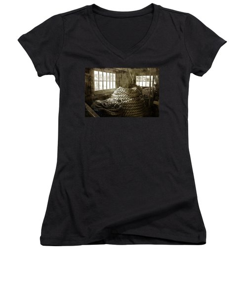 Plymouth Cordage Company Ropewalk Women's V-Neck T-Shirt
