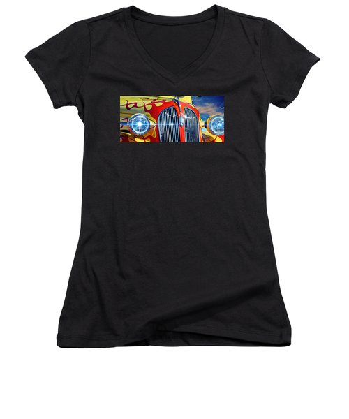 Aaron Berg Women's V-Neck T-Shirt (Junior Cut) featuring the photograph Plymouth Oldie by Aaron Berg