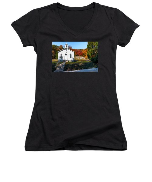 Point Mountain Community Church - Wv Women's V-Neck T-Shirt (Junior Cut) by Kathleen K Parker