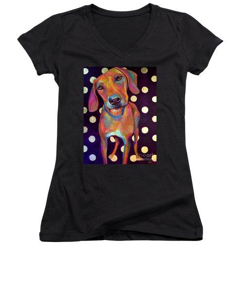 Polka Pooch Women's V-Neck T-Shirt