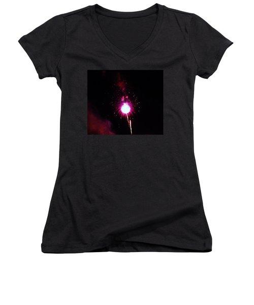 Women's V-Neck T-Shirt (Junior Cut) featuring the photograph Pom Pom by Amar Sheow