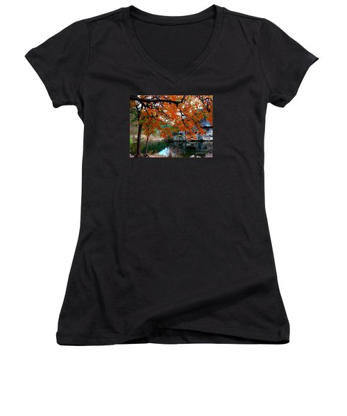 Fall At Lost Maples State Natural Area Women's V-Neck