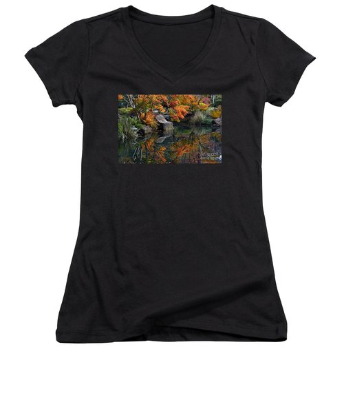 Pond In Autumn Women's V-Neck (Athletic Fit)