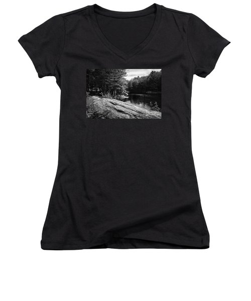 Women's V-Neck T-Shirt (Junior Cut) featuring the photograph Pondside by Mark Myhaver