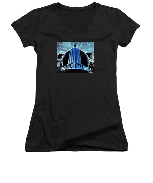 Women's V-Neck T-Shirt (Junior Cut) featuring the photograph Pontiac Chrome by Victor Montgomery