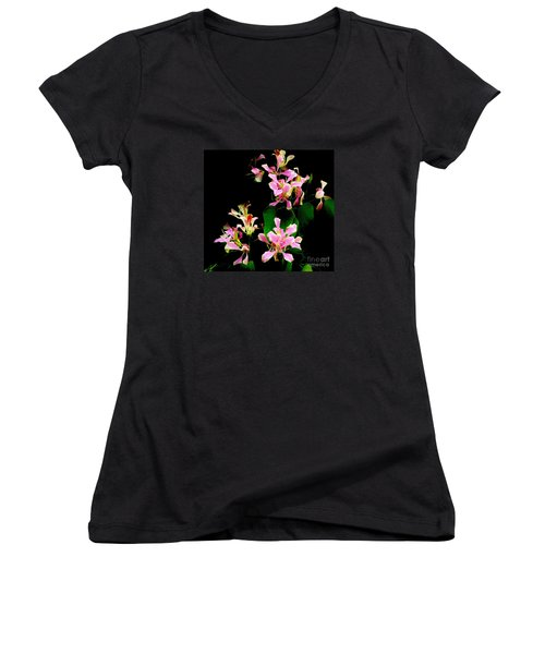 Poor Mans Orchid Women's V-Neck T-Shirt (Junior Cut) by Amar Sheow
