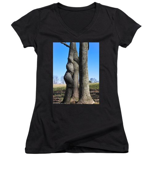 Women's V-Neck T-Shirt (Junior Cut) featuring the photograph Poor Twisted Tree by Nick Kirby
