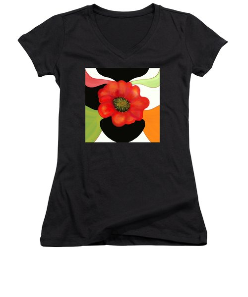 Pop Poppy Women's V-Neck T-Shirt (Junior Cut) by Christine Fournier
