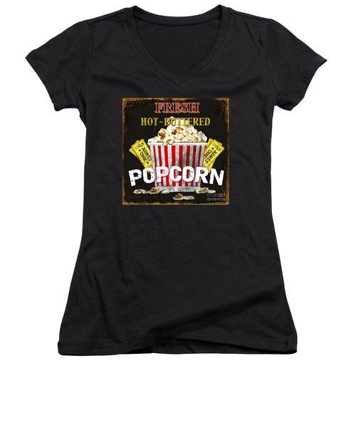 Popcorn Please Women's V-Neck T-Shirt (Junior Cut) by Jean Plout