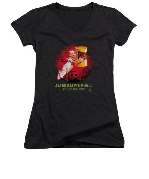 Popeye - Alternative Fuel Women's V-Neck T-Shirt (Junior Cut) by Brand A