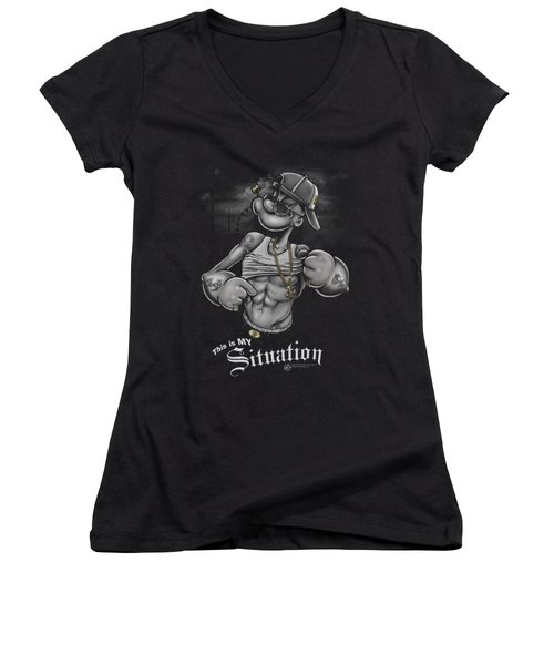 Popeye - Situation Women's V-Neck T-Shirt (Junior Cut) by Brand A