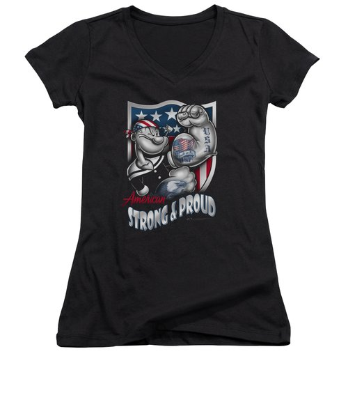 Popeye - Strong And Proud Women's V-Neck (Athletic Fit)