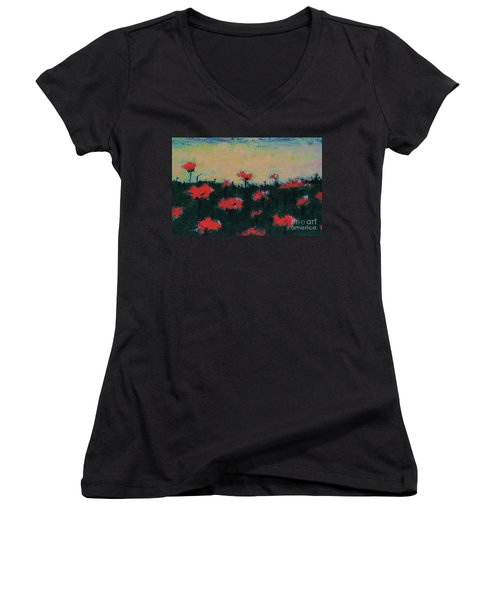 Poppy Field Women's V-Neck T-Shirt (Junior Cut) by Jacqueline McReynolds