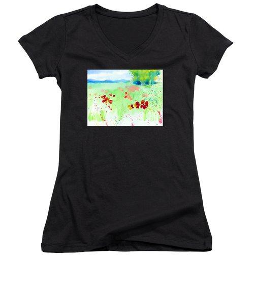 Poppy Passion Women's V-Neck T-Shirt