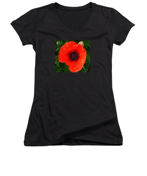 Poppy Of Remembrance  Women's V-Neck T-Shirt (Junior Cut) by Sharon Duguay