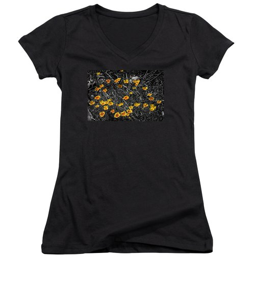 Women's V-Neck T-Shirt (Junior Cut) featuring the photograph Poppyflies by Mark Myhaver
