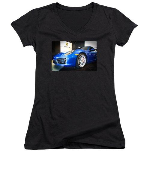 Porsche Cayman S In Sapphire Blue Women's V-Neck (Athletic Fit)