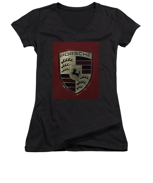 Porsche Emblem Women's V-Neck T-Shirt (Junior Cut) by Sebastian Musial