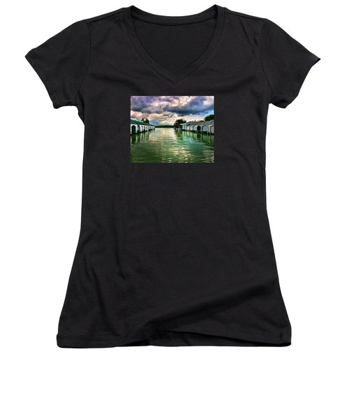 Storm Clouds Over  Port Royal Boathouses In Naples Women's V-Neck