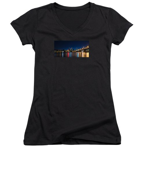 Portland Oregon Nightscape Women's V-Neck T-Shirt (Junior Cut) by Don Schwartz