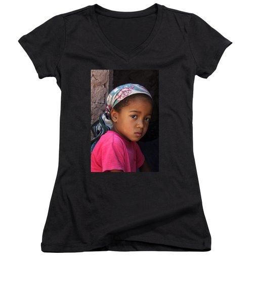 Portrait Of A Berber Girl Women's V-Neck T-Shirt (Junior Cut) by Ralph A  Ledergerber-Photography