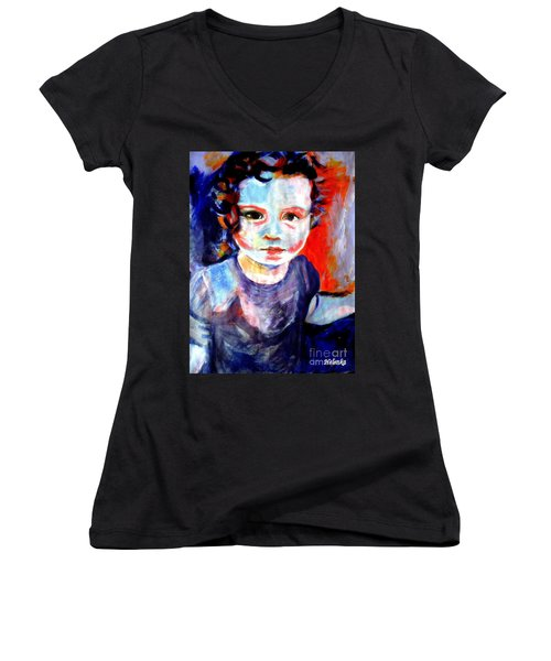 Portrait Of A Little Girl Women's V-Neck