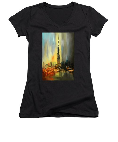 Portrait Of Burj Khalifa Women's V-Neck T-Shirt (Junior Cut) by Corporate Art Task Force