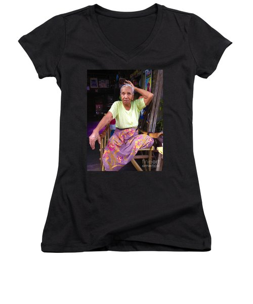 Women's V-Neck T-Shirt (Junior Cut) featuring the photograph Portrait Of Elderly Burmese Lady Sitting In Front Of Home 33rd Street Chanayethazan Mandalay Burma by Ralph A  Ledergerber-Photography