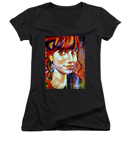 Women's V-Neck T-Shirt (Junior Cut) featuring the painting Portrait Of Ivana by Helena Wierzbicki