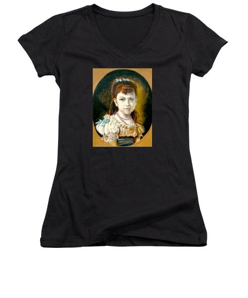 Women's V-Neck T-Shirt (Junior Cut) featuring the painting Portrait Of Little Girl by Henryk Gorecki