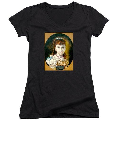 Portrait Of Little Girl Women's V-Neck T-Shirt