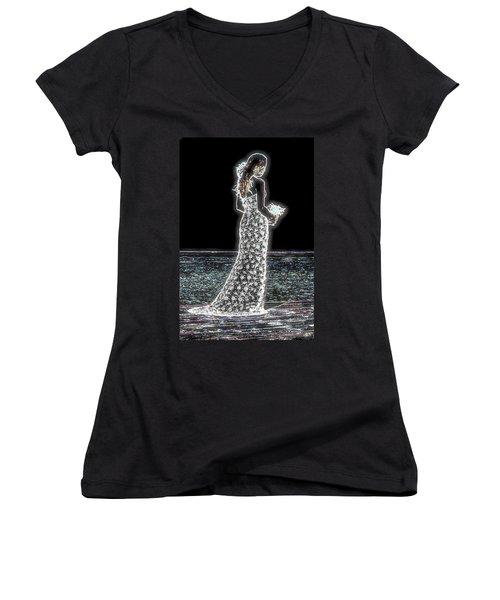 Posing Shyly Women's V-Neck T-Shirt (Junior Cut) by Leticia Latocki