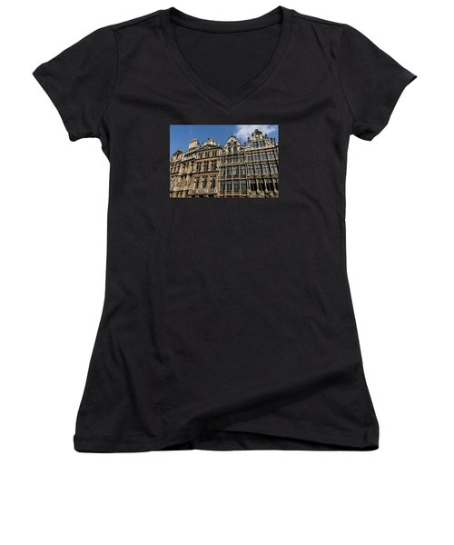 Women's V-Neck T-Shirt (Junior Cut) featuring the photograph Postcard From Brussels - Grand Place Elegant Facades by Georgia Mizuleva