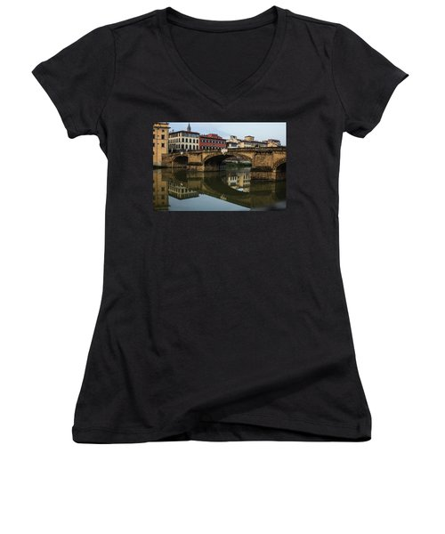 Women's V-Neck T-Shirt (Junior Cut) featuring the photograph Postcard From Florence  by Georgia Mizuleva