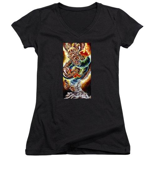 Women's V-Neck T-Shirt (Junior Cut) featuring the painting Power Of Spirit by Hiroko Sakai