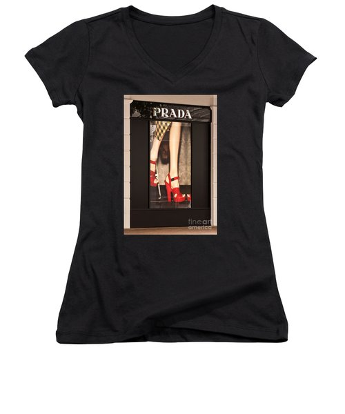 Prada Red Shoes Women's V-Neck (Athletic Fit)